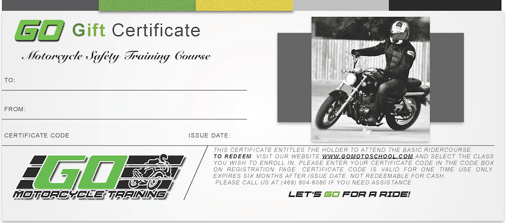 Go Motorcycle Training School - Class Gift Certificate